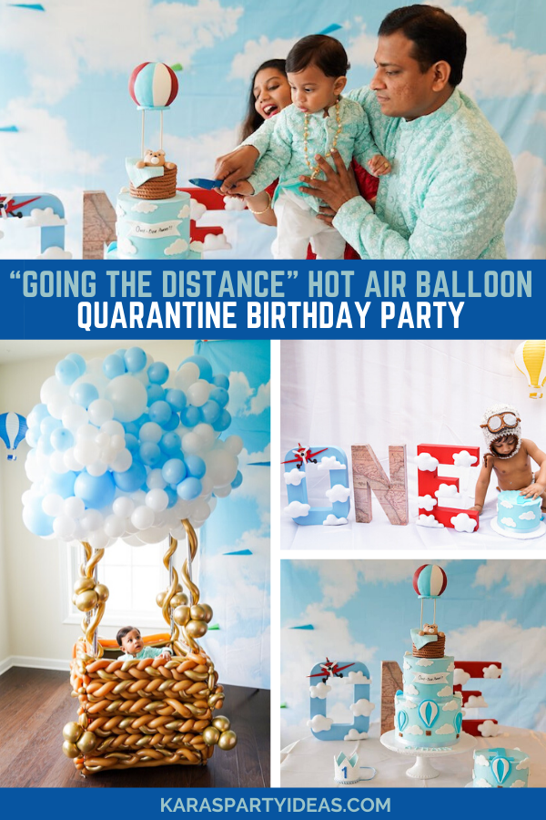 """Going the Distance"" Hot Air Balloon Quarantine Birthday Party via Kara's Party Ideas - KarasPartyIdeas.com"