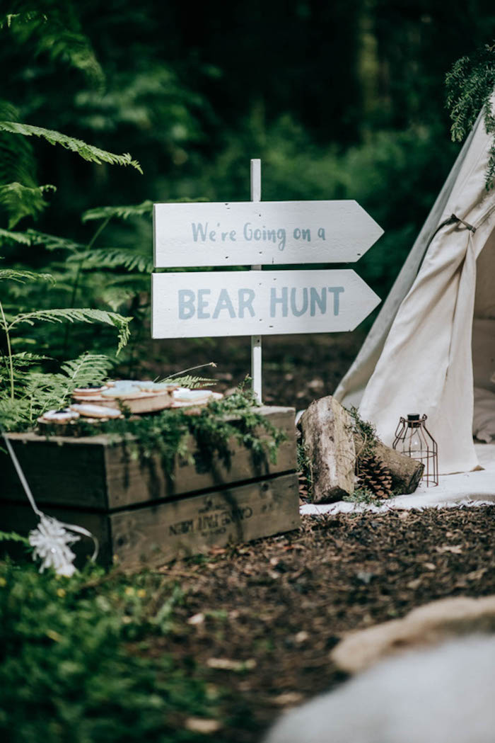 "Bear Hunt Directional Sign from a ""Don't Feed the Bears"" Woodland Camping Party on Kara's Party Ideas 
