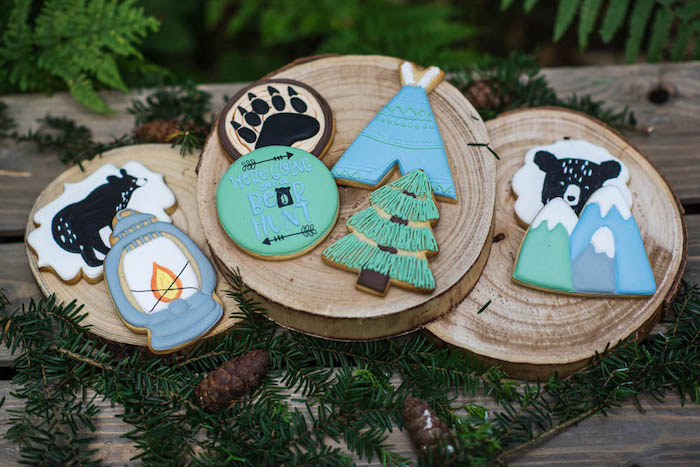 "Camping Cookies from a ""Don't Feed the Bears"" Woodland Camping Party on Kara's Party Ideas 