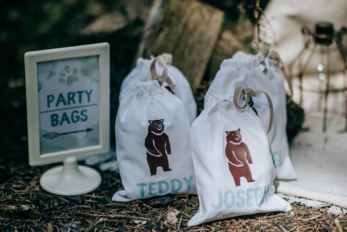 "Personalized Bear-printed Party Bags from a ""Don't Feed the Bears"" Woodland Camping Party on Kara's Party Ideas 