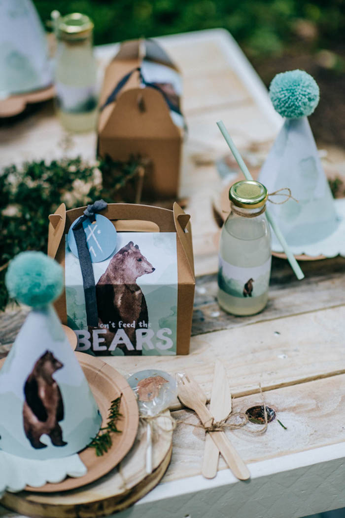 "Bear Themed Table Setting from a ""Don't Feed the Bears"" Woodland Camping Party on Kara's Party Ideas 