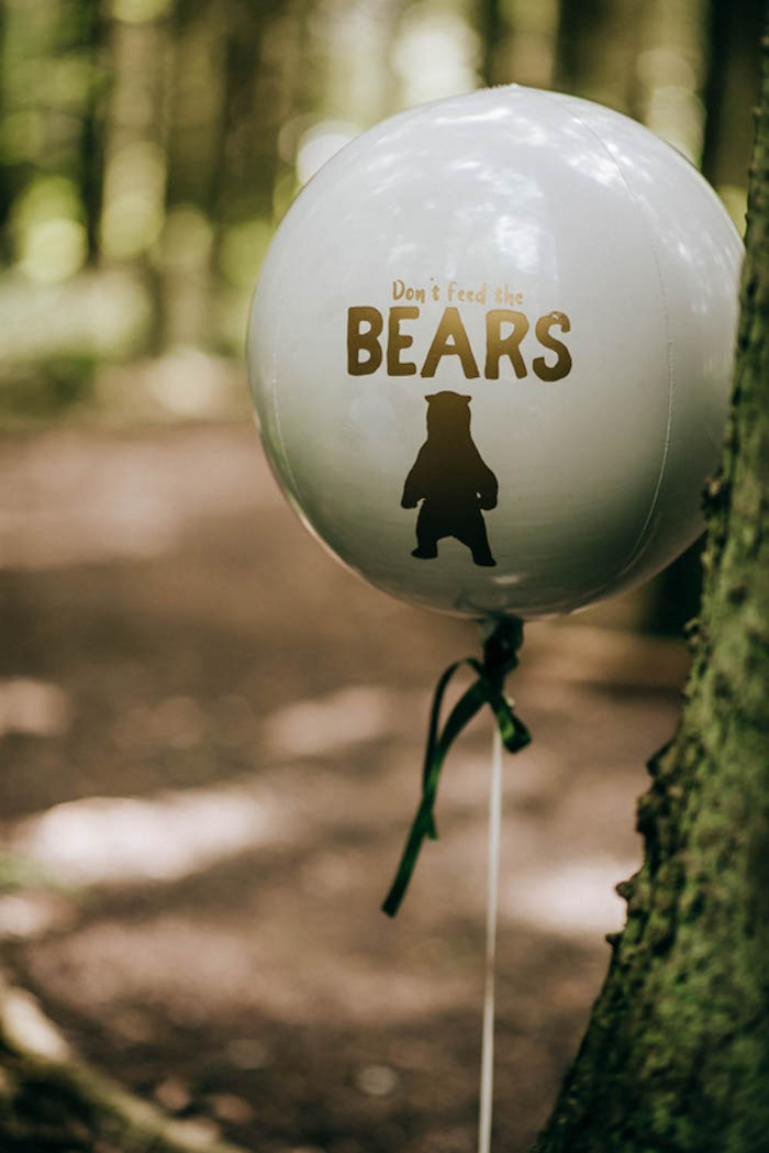 "Bear Balloon from a ""Don't Feed the Bears"" Woodland Camping Party on Kara's Party Ideas 