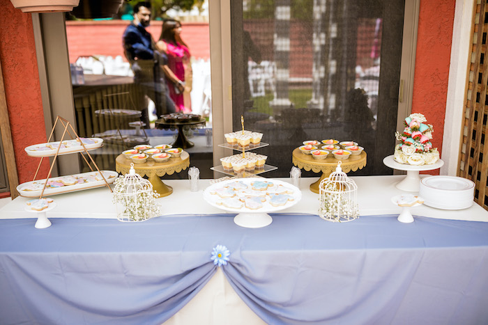 "Dessert Table from a ""He or She? What Will the Baby Be?"" Gender Reveal on Kara's Party Ideas 