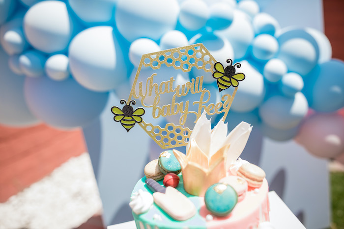 "Honeycomb-What Will Baby Bee Cake Topper from a Pink & Blue Gender Reveal Drip Cake from a ""He or She? What Will the Baby Be?"" Gender Reveal on Kara's Party Ideas 