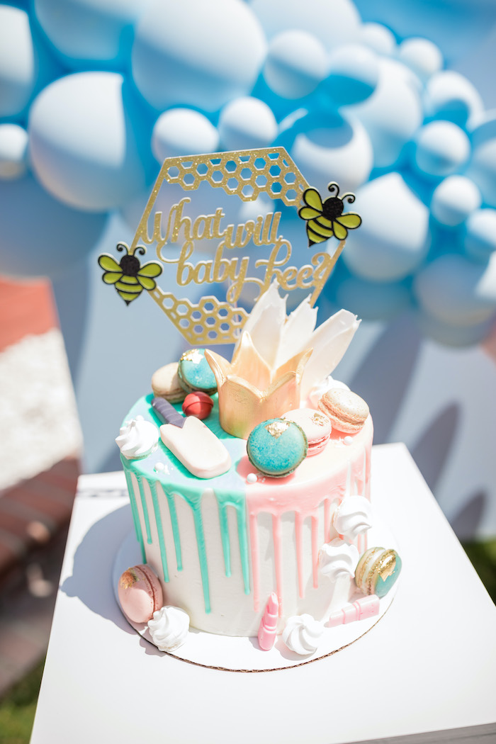 "Pink & Blue Gender Reveal Drip Cake from a ""He or She? What Will the Baby Be?"" Gender Reveal on Kara's Party Ideas 