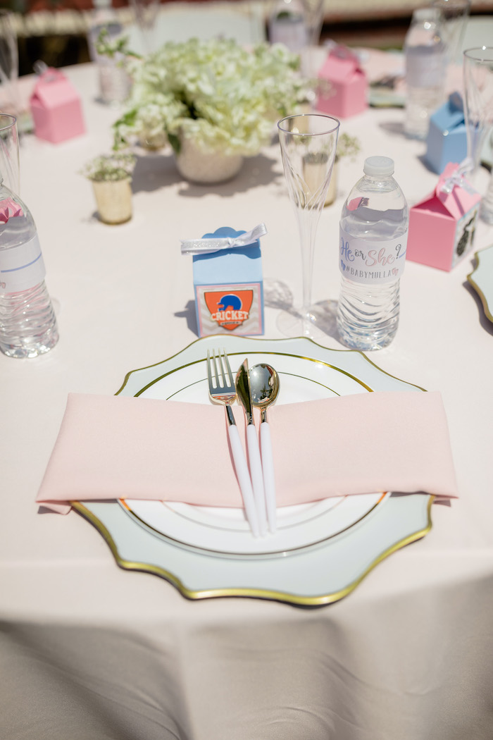"Pink + White & Gold Table Setting from a ""He or She? What Will the Baby Be?"" Gender Reveal on Kara's Party Ideas 