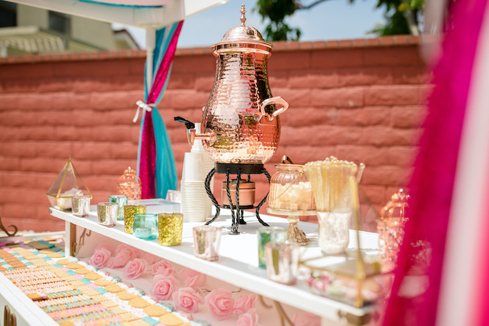 "Chai Cart from a ""He or She? What Will the Baby Be?"" Gender Reveal on Kara's Party Ideas 