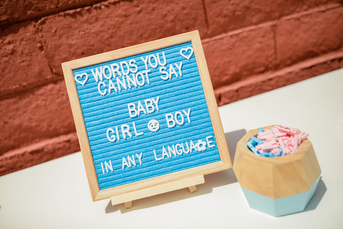"Letter Board + Pink & Blue Pin Party Game from a ""He or She? What Will the Baby Be?"" Gender Reveal on Kara's Party Ideas 