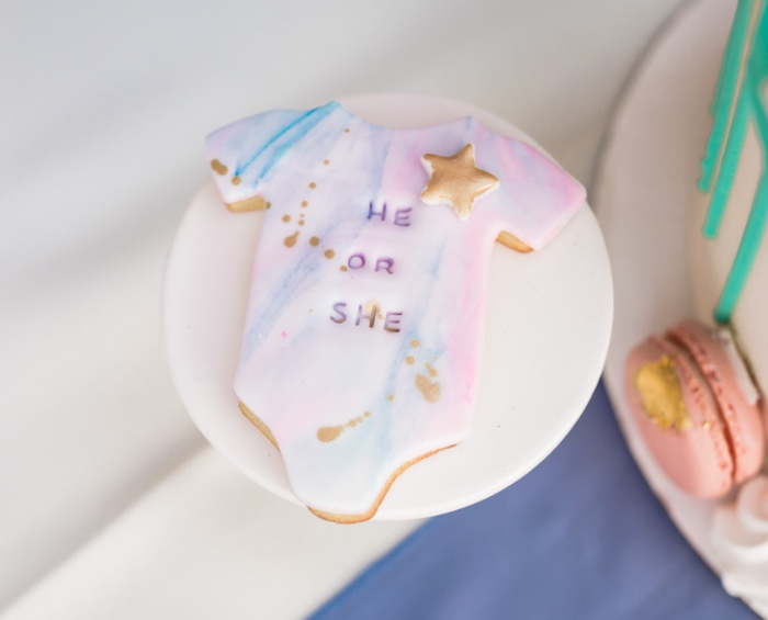 "Marbled Onesie Cookie from a ""He or She? What Will the Baby Be?"" Gender Reveal on Kara's Party Ideas 