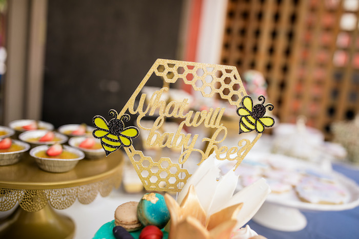 "Honeycomb-What Will Baby Bee Cake Topper from a ""He or She? What Will the Baby Be?"" Gender Reveal on Kara's Party Ideas 
