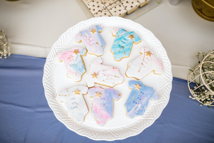 "Marbled Onesie Cookies from a ""He or She? What Will the Baby Be?"" Gender Reveal on Kara's Party Ideas 