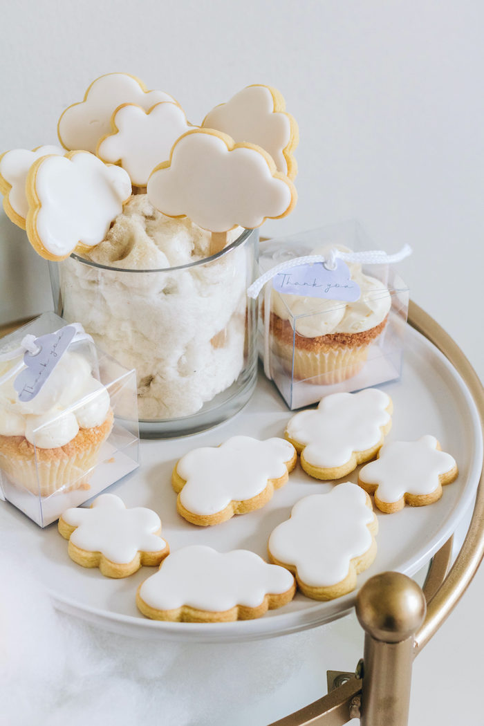 "Cloud Cookies & Cupcakes from an ""Up in the Clouds"" Baby Shower on Kara's Party Ideas 