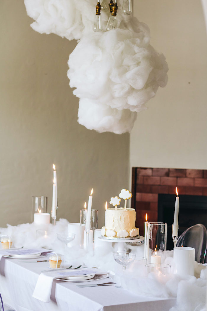 "Cloud Themed Guest Table from an ""Up in the Clouds"" Baby Shower on Kara's Party Ideas 