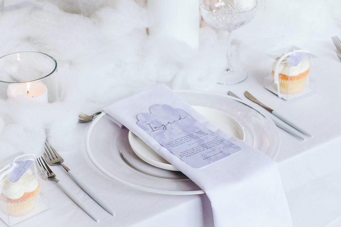 "Cloud-inspired Table Setting from an ""Up in the Clouds"" Baby Shower on Kara's Party Ideas 
