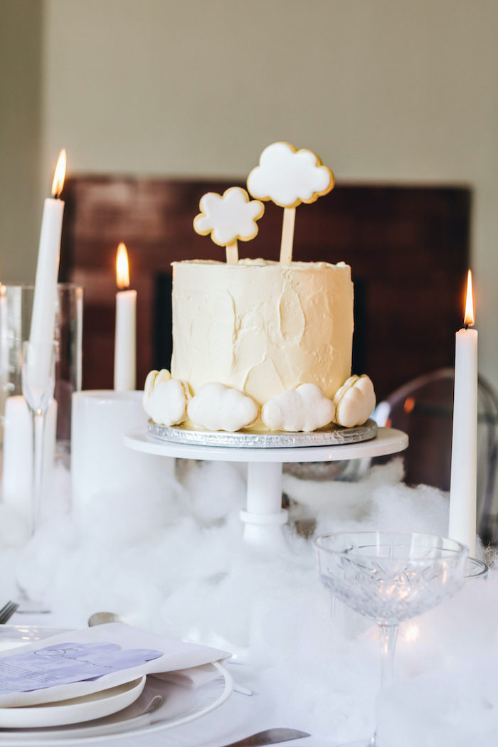 "Cloud Cake from an ""Up in the Clouds"" Baby Shower on Kara's Party Ideas 