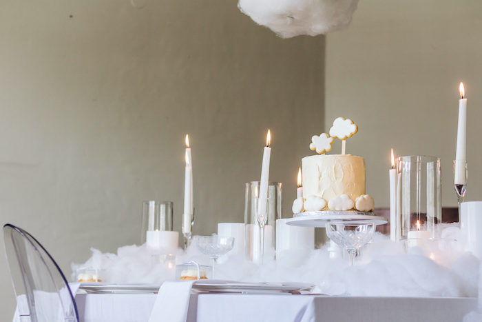 "Cloud-inspired Party Table from an ""Up in the Clouds"" Baby Shower on Kara's Party Ideas 