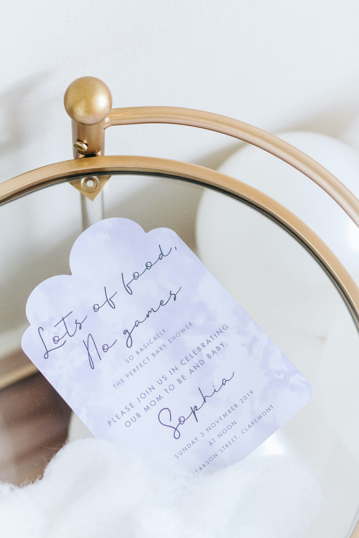 "Cloud-inspired Party Invite from an ""Up in the Clouds"" Baby Shower on Kara's Party Ideas 