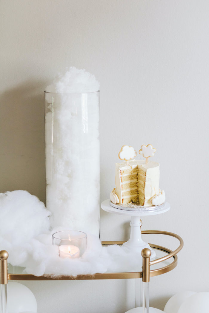 "Cloud-inspired Cake Cart from an ""Up in the Clouds"" Baby Shower on Kara's Party Ideas 