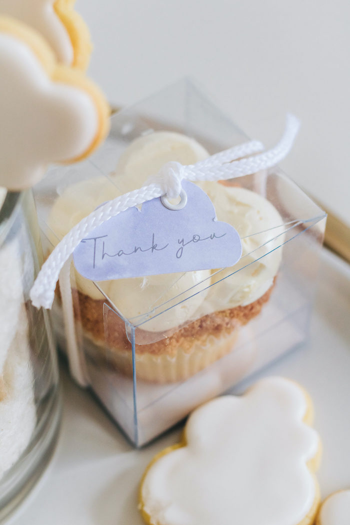 "Cloud Cupcake Favor from an ""Up in the Clouds"" Baby Shower on Kara's Party Ideas 