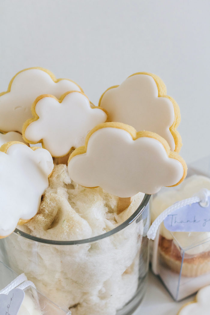 "Cloud Cookie Pops from an ""Up in the Clouds"" Baby Shower on Kara's Party Ideas 