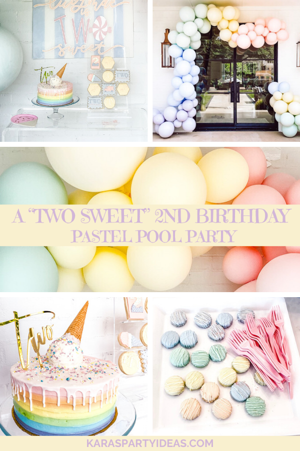 "A ""Two Sweet"" 2nd Birthday Pastel Pool Party via Kara's Party Ideas - KarasPartyIdeas.com"