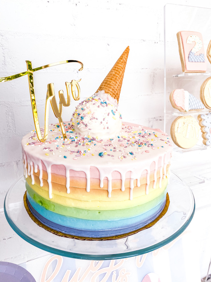 "Ice Cream Cone Rainbow Drip Cake from A ""Two Sweet"" 2nd Birthday Pastel Pool Party on Kara's Party Ideas 