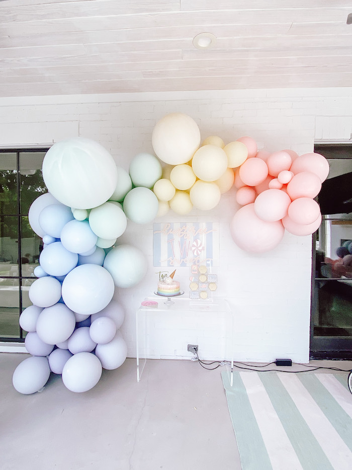 "A ""Two Sweet"" 2nd Birthday Pastel Pool Party on Kara's Party Ideas 