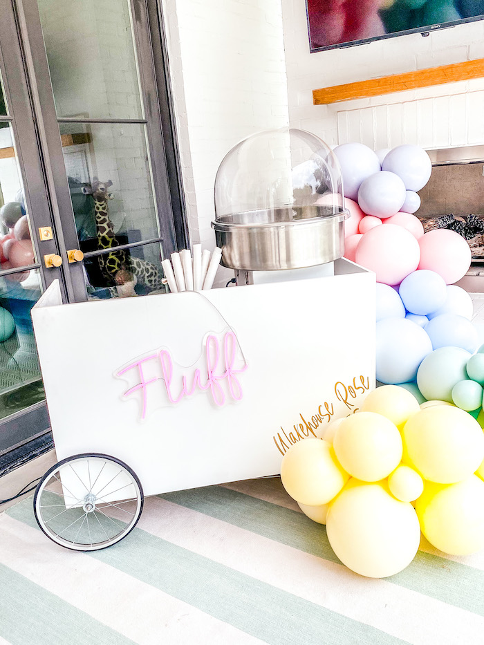 "Cotton Candy Cart from A ""Two Sweet"" 2nd Birthday Pastel Pool Party on Kara's Party Ideas 