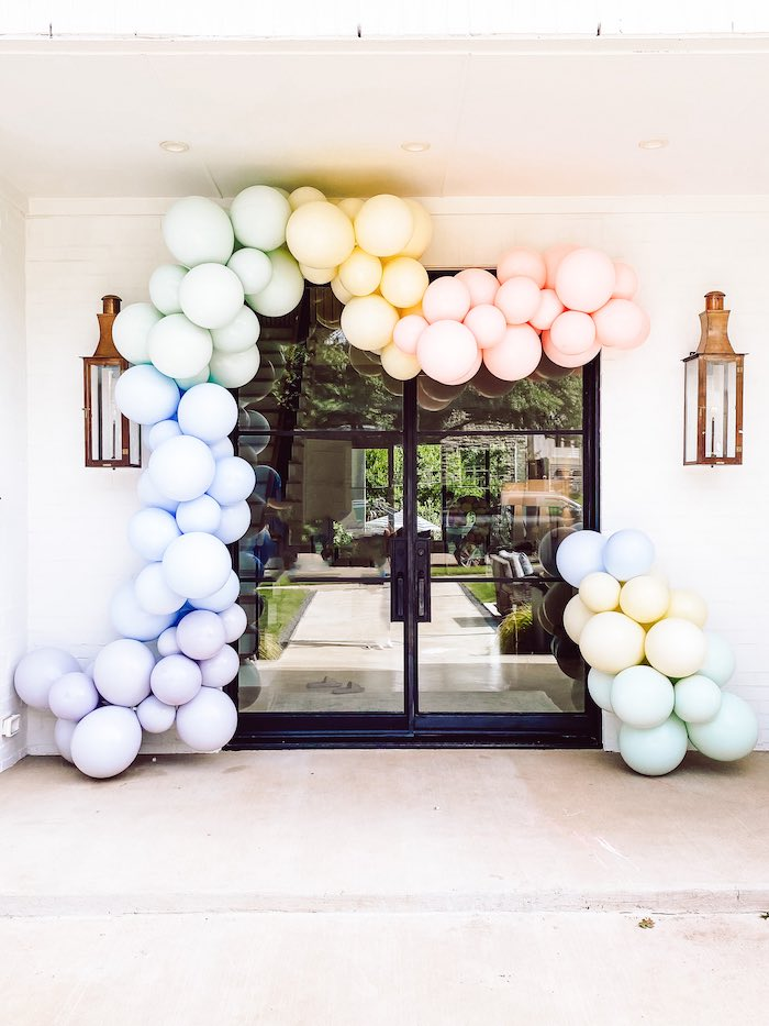 "Pastel Balloon Garland Entrance from A ""Two Sweet"" 2nd Birthday Pastel Pool Party on Kara's Party Ideas 