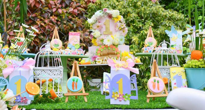 Garden Themed Dessert Table from a Birthday Garden Party on Kara's Party Ideas | KarasPartyIdeas.com (7)
