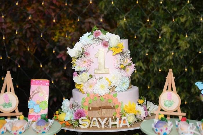 Garden Themed Birthday Cake from a Birthday Garden Party on Kara's Party Ideas | KarasPartyIdeas.com (14)