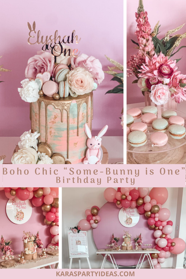 "Boho Chic ""Some-Bunny is One"" Birthday Party via Kara's Party Ideas - KarasPartyIdeas.com"