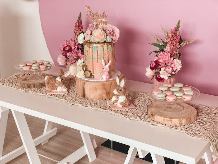 "Boho Bunny Dessert Table from a Boho Chic ""Some-Bunny is One"" Birthday Party on Kara's Party Ideas 