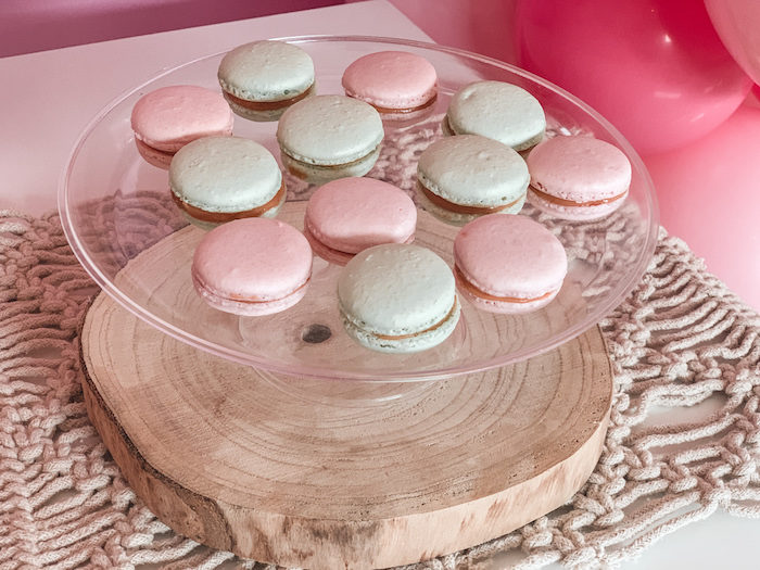 "Pastel Pink & Green Macarons from a Boho Chic ""Some-Bunny is One"" Birthday Party on Kara's Party Ideas 