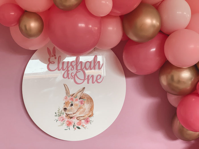 "Custom Boho Bunny Acrylic Backdrop Sign from a Boho Chic ""Some-Bunny is One"" Birthday Party on Kara's Party Ideas 