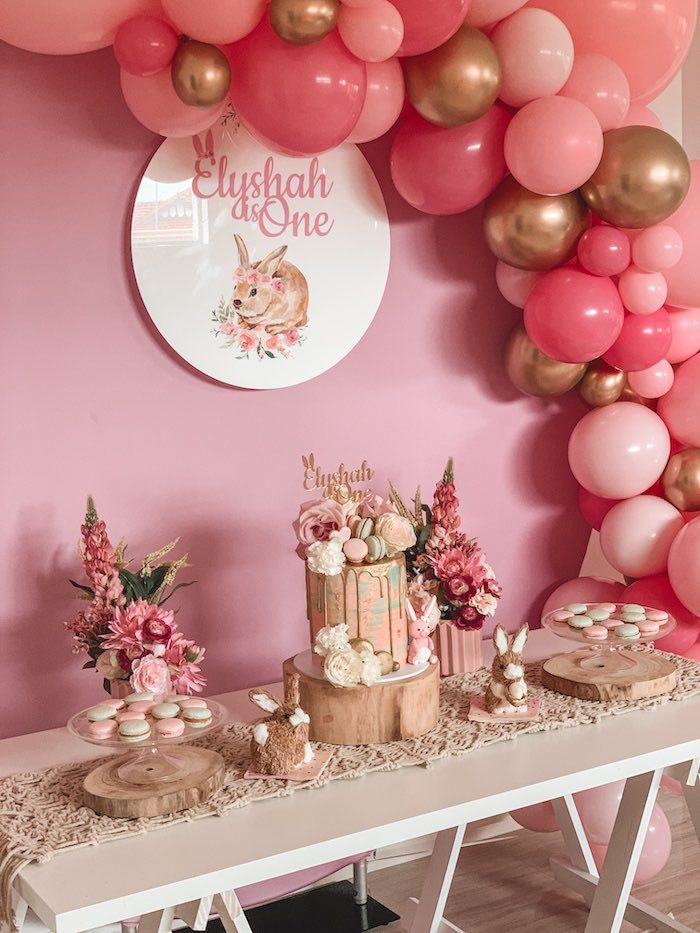 "Girly Boho Bunny Dessert Table from a Boho Chic ""Some-Bunny is One"" Birthday Party on Kara's Party Ideas 