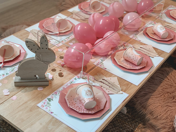 "Boho Bunny Guest Table from a Boho Chic ""Some-Bunny is One"" Birthday Party on Kara's Party Ideas 