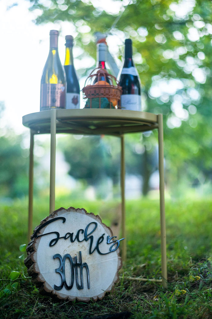 Beverage Table from a Boho Woodland 30th Birthday Fête on Kara's Party Ideas | KarasPartyIdeas.com (23)