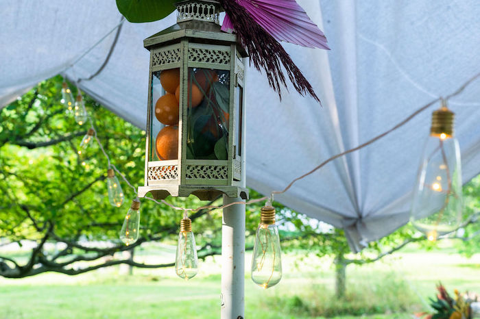 Orange-filled Lantern from a Boho Woodland 30th Birthday Fête on Kara's Party Ideas | KarasPartyIdeas.com (22)