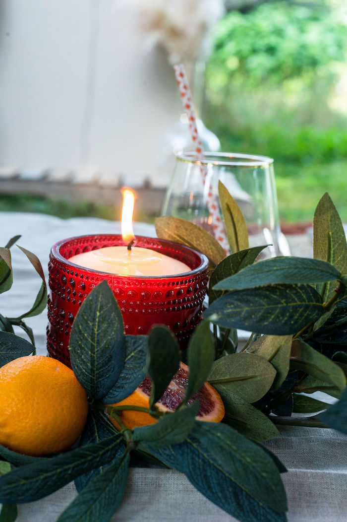 Candle + Orange Leaf Garland from a Boho Woodland 30th Birthday Fête on Kara's Party Ideas | KarasPartyIdeas.com (21)