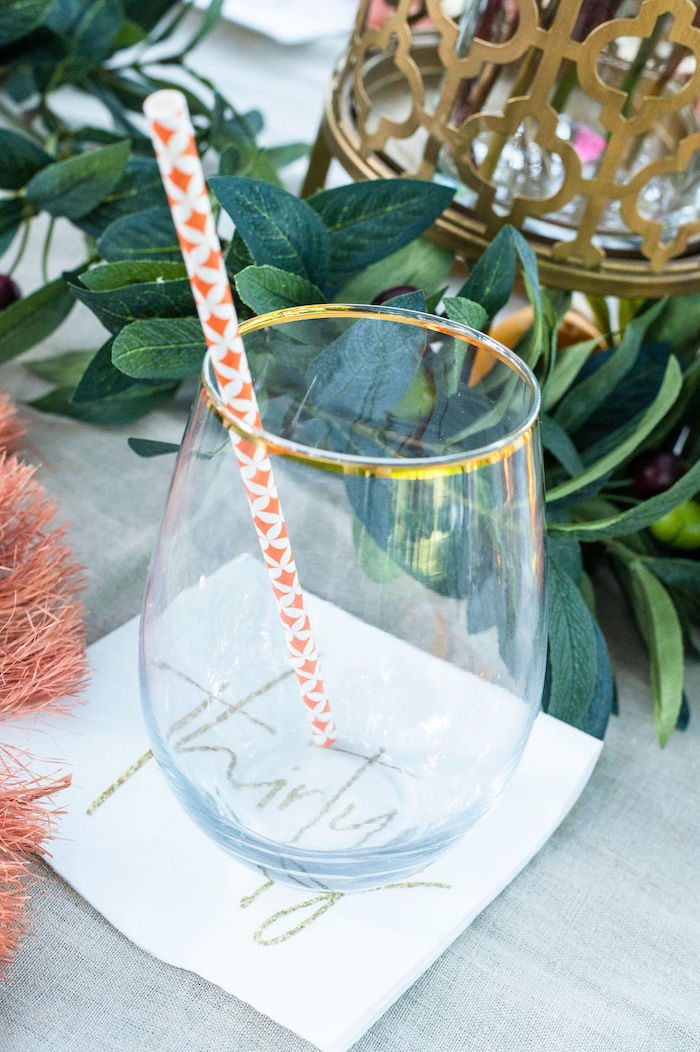 Gold-rimmed Glass from a Boho Woodland 30th Birthday Fête on Kara's Party Ideas | KarasPartyIdeas.com (20)