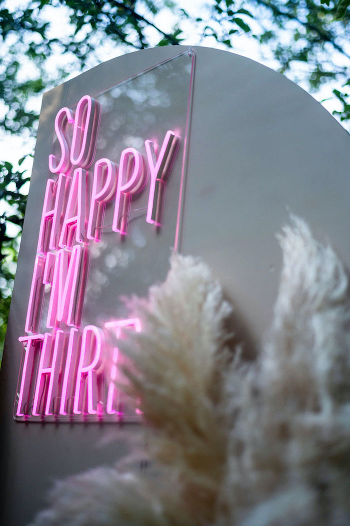 Neon Sign from a Boho Woodland 30th Birthday Fête on Kara's Party Ideas | KarasPartyIdeas.com (14)