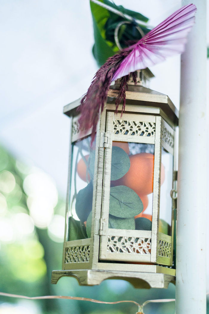 Lantern filled with oranges and leaves from a Boho Woodland 30th Birthday Fête on Kara's Party Ideas | KarasPartyIdeas.com (10)