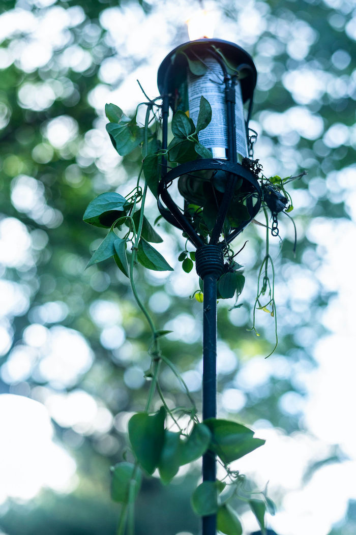Greenery-wrapped Torch from a Boho Woodland 30th Birthday Fête on Kara's Party Ideas | KarasPartyIdeas.com (8)
