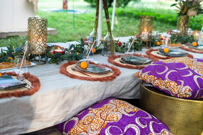 Boho Woodland Dining Tablescape from a Boho Woodland 30th Birthday Fête on Kara's Party Ideas | KarasPartyIdeas.com (7)