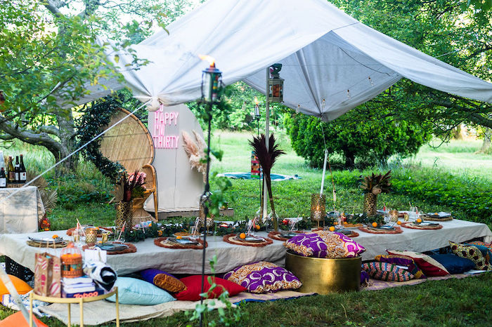 Boho Woodland Dining Table from a Boho Woodland 30th Birthday Fête on Kara's Party Ideas | KarasPartyIdeas.com (5)