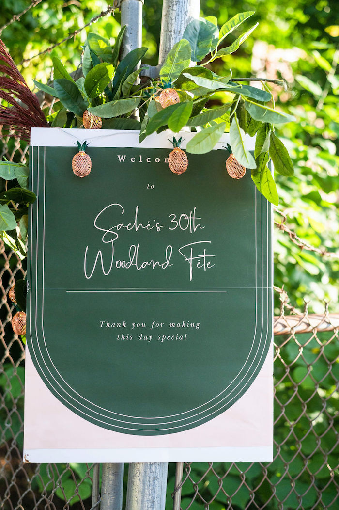 Welcome Signage from a Boho Woodland 30th Birthday Fête on Kara's Party Ideas | KarasPartyIdeas.com (4)