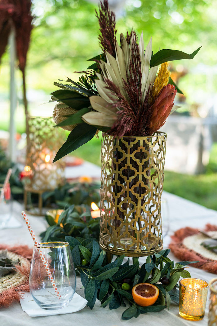 Boho Bloom Centerpiece from a Boho Woodland 30th Birthday Fête on Kara's Party Ideas | KarasPartyIdeas.com (29)