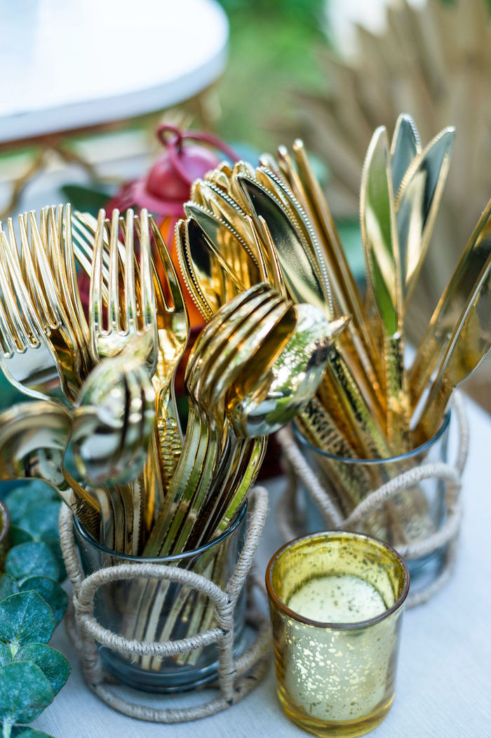Gold Flatware from a Boho Woodland 30th Birthday Fête on Kara's Party Ideas | KarasPartyIdeas.com (26)