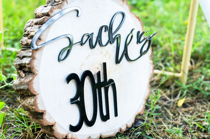 Wood Stump Sign from a Boho Woodland 30th Birthday Fête on Kara's Party Ideas | KarasPartyIdeas.com (25)
